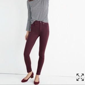 "Madewell 10"" high rise skinny pants"